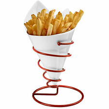 American Style Retro Porcelain French Fry Cone Red Diner Metal Wire Chip Cones