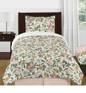 Vintage Floral Shabby Chic Boho Pink Yellow Girl Twin Comforter Set Sweet Jojo