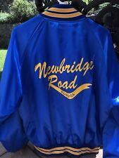 Vintage Men's Satin Blue NEWBRIDGE ROAD SCHOOL Jacket Coat Sz XL Rare