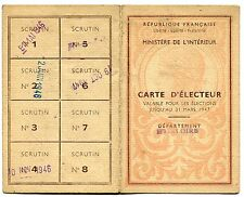 CARTE D ELECTEUR  MAIRIE D YSSINGEAUX 1948