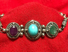 """Sterling Silver Oval Ruby Emerald Turquoise Ladies 8"""" Bracelet Double Toggle"""