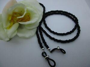 "SLEEK JET BLACK 27"" Glass Beaded Eyeglass or Sunglasses Chain Holder Made USA"