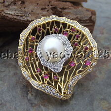 H112714 White Pearl Cz Pave Brooch