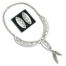 Silver Earring & Necklace Set Navajo Yei Handmade .925 Solid Sterling
