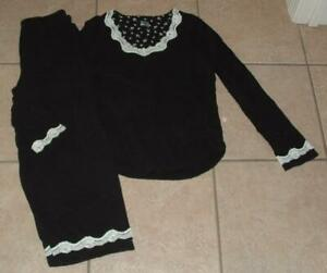 Black Small 4 / 6 Capri Pants & Shirt Cotton Pajama Lounge Set SECRET TREASURES