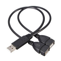 USB2.0 A Male to Dual USB Female Hub Power Adapter Y Splitter Cable Cord Lead #F