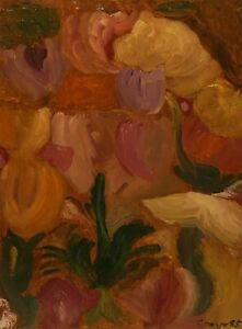 CONROY NEW YORK CITY 1985 FLORAL STILL LIFE PORTRAIT MODERNIST ABSTRACT PAINTING
