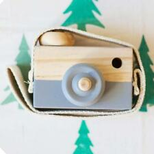 Kids Cute Wood Camera Toy Children Room Decor Natural Safe Wooden Camera Gray @M