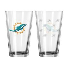 Miami Dolphins Satin Etch Pint Glass Set of 2 [NEW] NFL Drink Bar Cup Mug 16oz