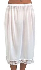 "Ladies Elasticated Waist Half Slip Petticoat With Pretty Lace Trim 25"" Long XXL"