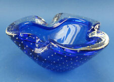 Murano Glas a bolle cordonato Schale Luftblasen venatian bubble glass ashtray