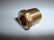 "SOLID BRASS 3/8""BSPT MALE REDUCER TO 1/4""BSP FEMALE GAUGE ADAPTER REDUCING BUSH"