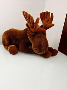 "Dakin Lou Rankin Friends Bull Moose Plush Posable Antlers Brown Realistic 15"""
