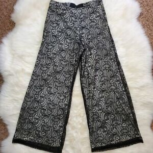 V Christina Lace Overlay Wide Leg Floral Women High Rise Lounge Pants Sz 10