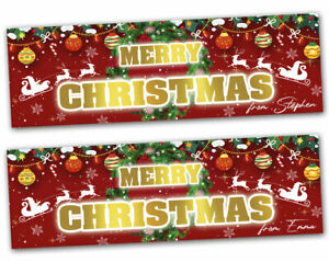 2 Personalised Merry Christmas Banner Decoration Gift Xmas Kids Party Poster