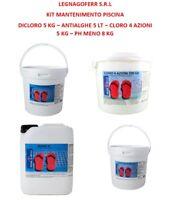 Kit Prodotti Mantenimento Pulizia Acqua Piscina Antialghe Dicloro Ph Meno Pastig