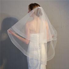 "Horsehair Veil Wedding 2 Tiers Fingertip Length Blusher Veil  2"" Chic Trims Cute"