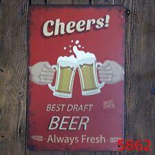 Metal Tin Sign best draft beer cheers Bar Pub Vintage Retro Poster Cafe ART