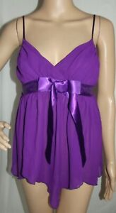 Frederick Small Purple Satin Bow Asymmetrical Wrap V-Neck Babydoll Cami Top gown