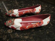 Manolo Blahnik Hangisi Crystal Buckle/Flat/Red Floral Satin Size 38.5 New Italy