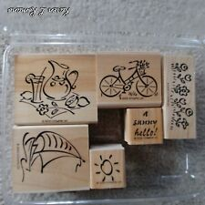 STAMPIN' UP SIMPLY SUMMER SET MOUNTED RETIRED SIX RUBBER STAMPS STAMP 2000