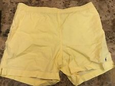 MENS L vtg 90s Polo Ralph Lauren SPORT SWIM Shorts Trunks Suit Yellow USA Flag