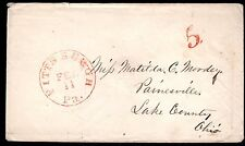 "US 1840's PITTSBURGH PA TO LAKE COUNTY OHIO ""5"" AND CANCEL IN RED"
