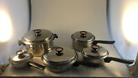 Vintage Full Set of Duncan Hines Cookware 3 ply 18-8 Stainless Steel Regal Ware