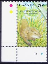 Uganda 1991 MNH Wetlands Animals, Marsh Mangoose, Corner  - D25