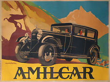 RARE VINTAGE POSTER OF AMILCAR AUTOMOBILES BY BARBEY ART DECO ci.1932