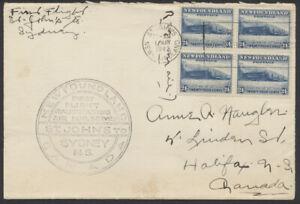 1942 Newfoundland St John's to Sydney NS Flight, #210 24c Block