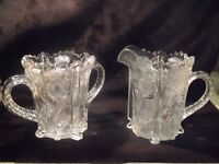 """ANTIQUE HIGBEE EAPG 4"""" PANELLED THISTLE PATTERN SUGAR AND CREAMER SET"""