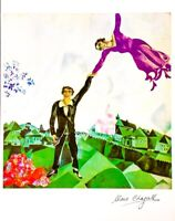 Hand signed Mark Chagall vintage multi-color art work with LOA