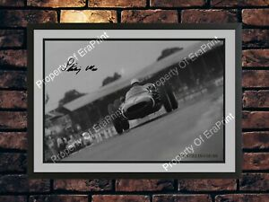 STIRLING MOSS BLACK & WHITE SIGNED A4 PHOTO AUTOGRAPHED MEMORABILIA PRINT