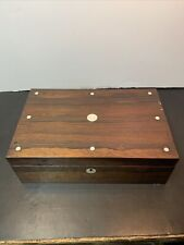 Antique Travel Lap Desk/Writing Box With Ink Wells & Mother Of Pearl Inlay