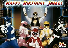 Go Go Mighty Morphin' Power Rangers spoof Personalised Happy Birthday art Card