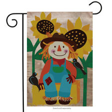 "Welcome Scarecrow Burlap Fall Garden Flag 12.5"" x 18"" Briarwood Lane"