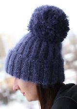 """Premium Longhair Mohair Cap HAT """"POMPONS-GIANTS"""" hand knit blue Men Women"""
