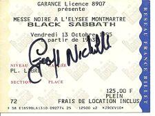 RARE / TICKET CONCERT - BLACK SABBATH Autographe GEOFF NICHOLLS LIVE A PARIS 95