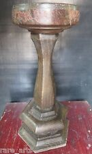Antique Candle lamp table Remade Original turned wood balastrade base treenware