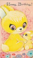 Vintage Happy Birthday Greeting Card  ~Cute 1970's Big Eyed Bunny Rabbits