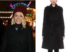 Karen Millen Black Willoughby Classic Wool Belt Wrap Tailor Military Winter Coat