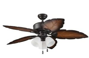 """NEW 52"""" 3 Light Tropical Wet-Rated Outdoor Ceiling Fan! Bronze Leaf Porch Patio"""
