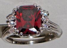 Women Ring Silver Red Garnet Cubic Zirconia Ring Size 8
