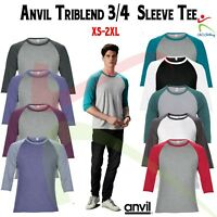 Anvil Men's Raglan Top 3/4 Sleeve Triblend T-Shirt Contrast Colours T Casual Tee