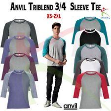 Anvil Adult Triblend ¾ Sleeve Raglan Tee Soft Contrast Soft Cotton T-Shirt TOP