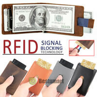 Men's RFID Blocking Leather Wallet Slim Outer Card Slot Thin Bifold w/Money Clip