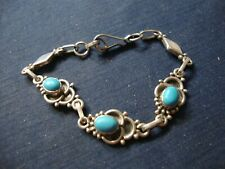 Pawn Big Chunky Bracelet Grandmas Turquoise Sterling Silver Old