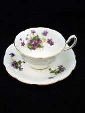 Vintage Royal Stuart Violets & Gold Bone China Tea cup c1955