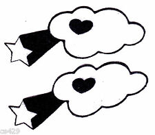 """3.5"""" HELLO KITTY CLOUDS & STARS  CHARACTER FABRIC APPLIQUE IRON ON"""